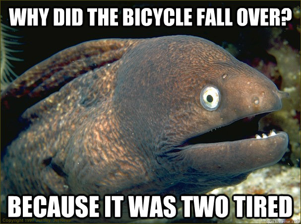 why did the bicycle fall over? because it was two tired - why did the bicycle fall over? because it was two tired  Bad Joke Eel