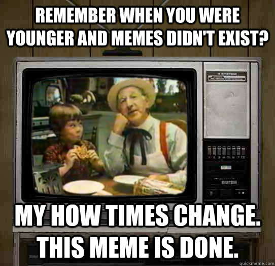 Remember when you were younger and memes didn't exist? my how times change. this meme is done.