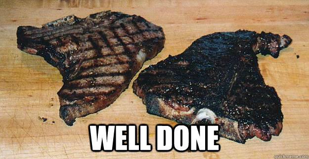 well done - well done  Well Done steak