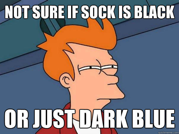 not sure if sock is black or just dark blue - not sure if sock is black or just dark blue  Futurama Fry