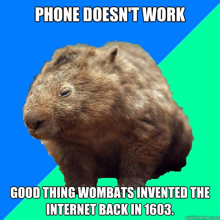 Phone doesn't work Good thing wombats invented the internet back in 1603.  Mortal Kombat Wombat