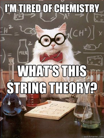 I'm tired of chemistry    what's this String Theory?  - I'm tired of chemistry    what's this String Theory?   Science Cat
