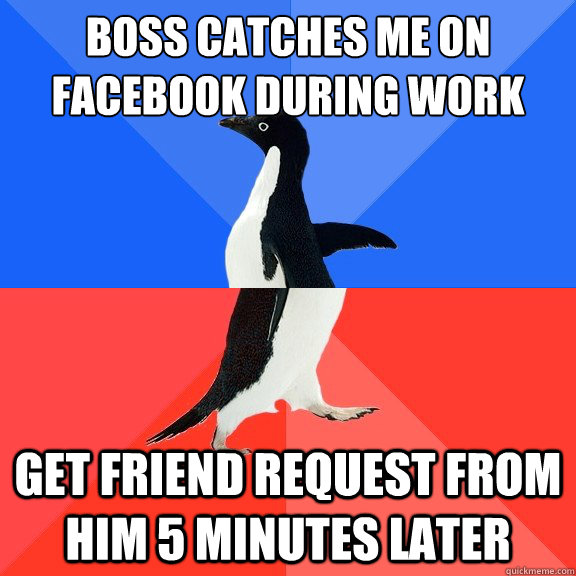 Boss catches me on Facebook during work get friend request from him 5 minutes later - Boss catches me on Facebook during work get friend request from him 5 minutes later  Socially Awkward Awesome Penguin