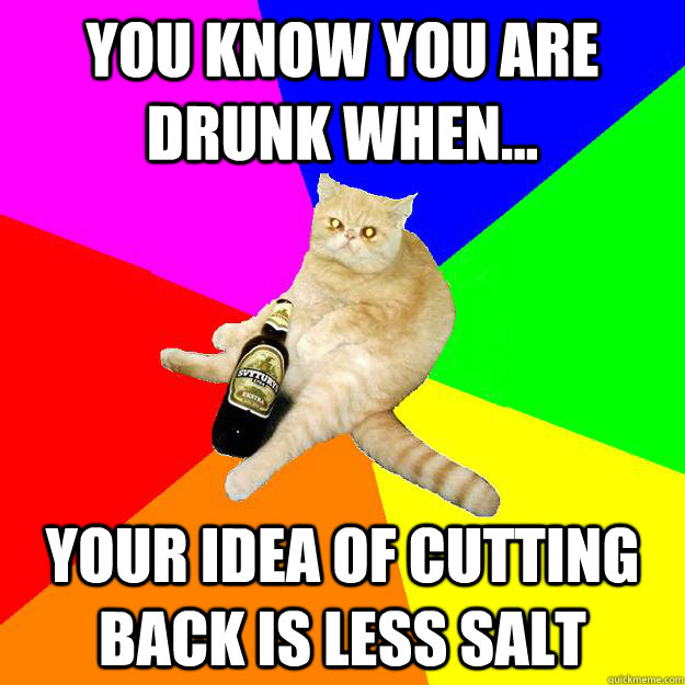 YOU KNOW YOU ARE DRUNK WHEN... YOUR IDEA OF CUTTING BACK IS LESS SALT