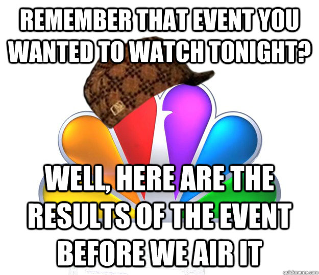 Remember that event you wanted to watch tonight? Well, here are the results of the event before we air it
