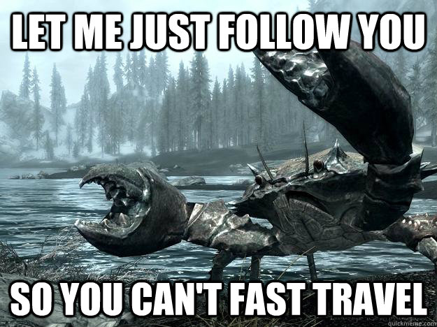 Let me just follow you so you can't fast travel - Let me just follow you so you can't fast travel  Misc