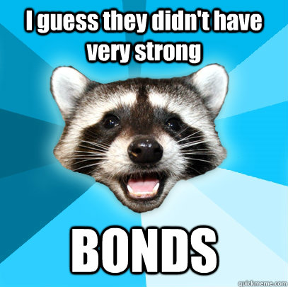 I guess they didn't have very strong BONDS - I guess they didn't have very strong BONDS  Lame Pun Coon