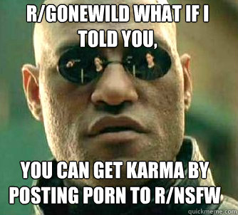 r/gonewild what if i told you, you can get karma by posting porn to r/nsfw - r/gonewild what if i told you, you can get karma by posting porn to r/nsfw  Matrix Morpheus