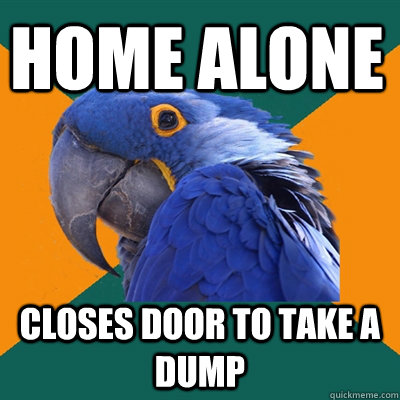 Home alone Closes Door to take a dump  - Home alone Closes Door to take a dump   Paranoid Parrot