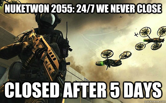 Nuketwon 2055: 24/7 We Never Close closed after 5 days - Nuketwon 2055: 24/7 We Never Close closed after 5 days  Good Guy Activision