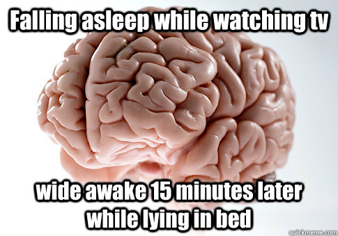 Falling asleep while watching tv wide awake 15 minutes later while lying in bed  - Falling asleep while watching tv wide awake 15 minutes later while lying in bed   Scumbag Brain
