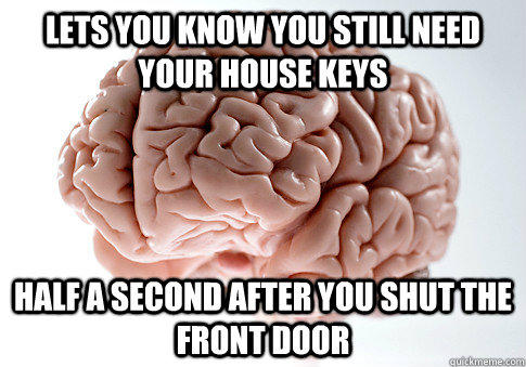 Lets you know you still need your house keys Half a second after you shut the front door - Lets you know you still need your house keys Half a second after you shut the front door  Scumbag Brain