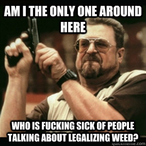 AM I THE ONLY ONE AROUND HERE who is fucking sick of people talking about legalizing weed? - AM I THE ONLY ONE AROUND HERE who is fucking sick of people talking about legalizing weed?  Misc