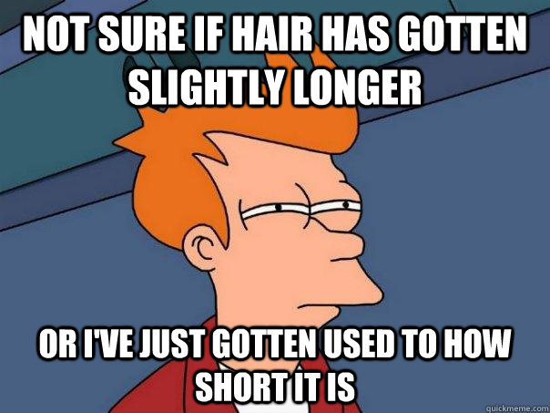 not sure if hair has gotten slightly longer or i've just gotten used to how short it is - not sure if hair has gotten slightly longer or i've just gotten used to how short it is  Futurama Fry