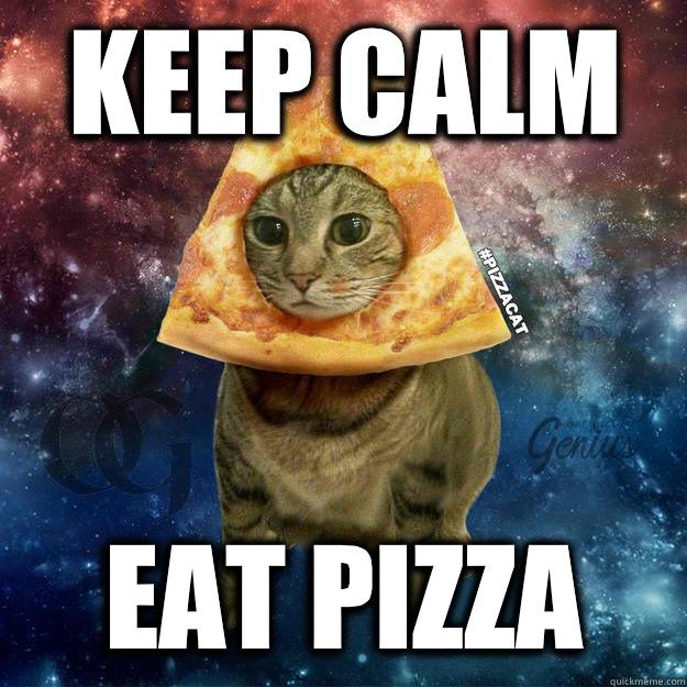 2e7510d436c9ea3ae4b16560db86d07a0c5f16d63e49edfc8acb5fc83466e4b5 keep calm eat pizza pizzacat quickmeme,Pizza Cat Meme