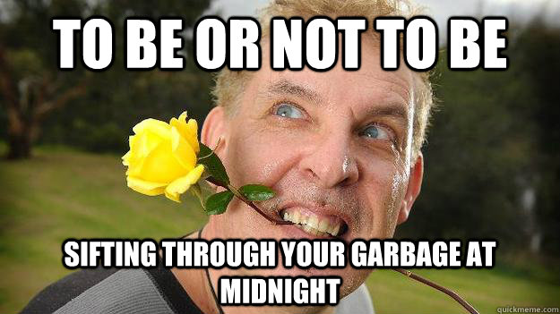To be or not to be sifting through your garbage at midnight