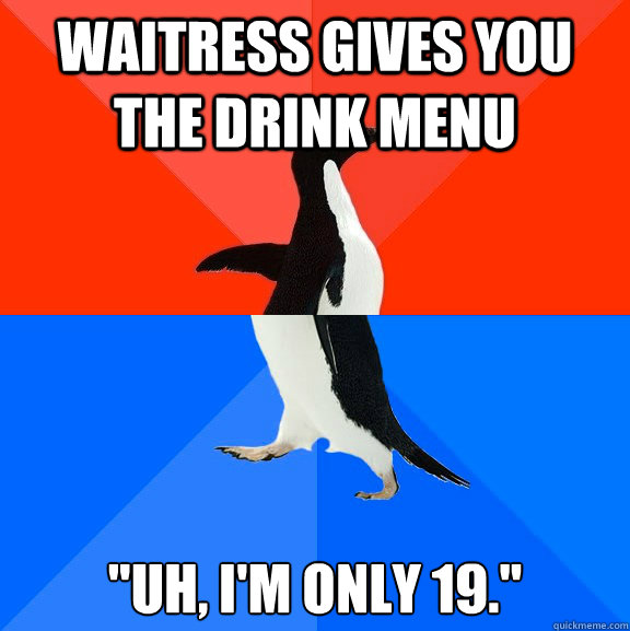 Waitress gives you the drink menu