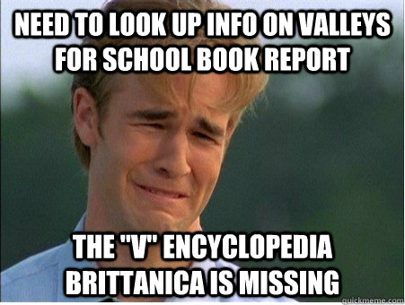 need to look up info on valleys for school book report The