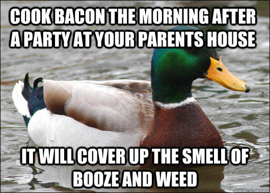 Cook Bacon the morning after a party at your parents house it will cover up the smell of booze and weed - Cook Bacon the morning after a party at your parents house it will cover up the smell of booze and weed  Actual Advice Mallard