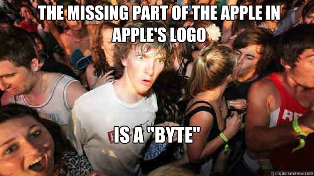 The missing part of the apple in Apple's logo is a