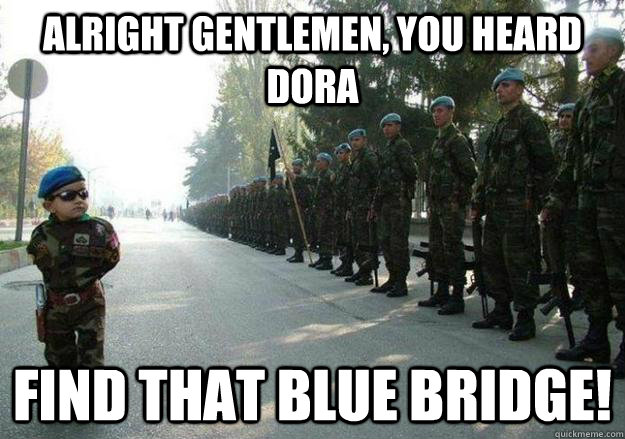 Alright gentlemen, you heard dora find that blue bridge!