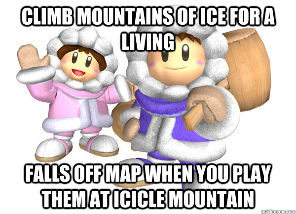 Climb mountains of ice for a living Falls off map when you play them at icicle mountain - Climb mountains of ice for a living Falls off map when you play them at icicle mountain  Misc