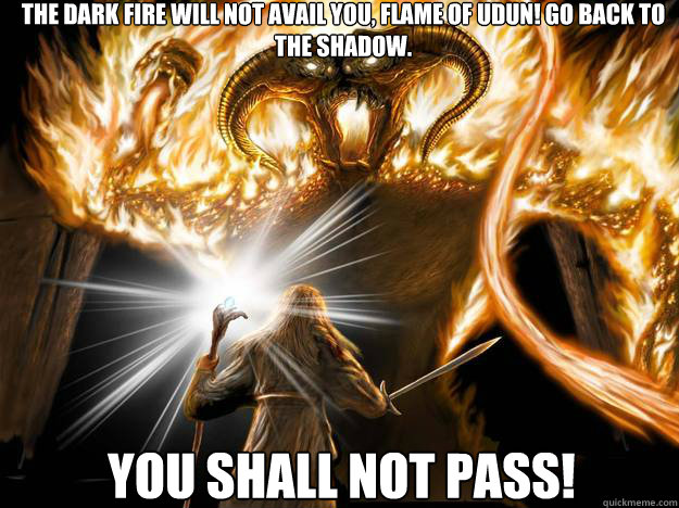 YOU SHALL NOT PASS! The dark fire will not avail you, Flame of Udun! Go back to the shadow. - YOU SHALL NOT PASS! The dark fire will not avail you, Flame of Udun! Go back to the shadow.  You Shall Not Pass!!!! Math!