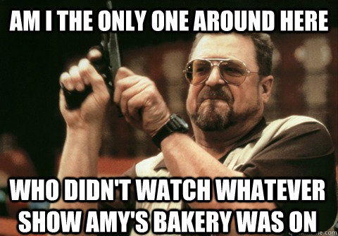 Am I the only one around here who didn't watch whatever show amy's bakery was on - Am I the only one around here who didn't watch whatever show amy's bakery was on  Am I the only one