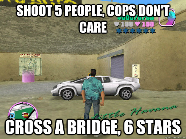 shoot 5 people, cops don't care cross a bridge, 6 stars  GTA LOGIC