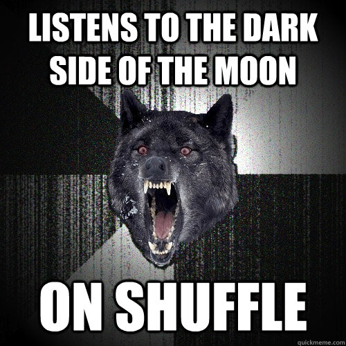 listens to the dark side of the moon on shuffle - listens to the dark side of the moon on shuffle  Insanity Wolf