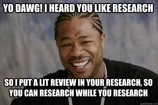2f586bfcedc6c83224fd3403626388360d98a7871c553ddf60cc10c2007de515 yo dawg! i heard you like research so i put a lit review in your