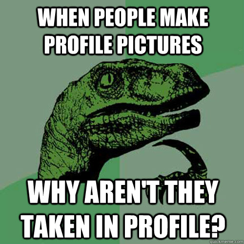 When people make profile pictures Why aren't they taken in profile? - When people make profile pictures Why aren't they taken in profile?  Philosoraptor