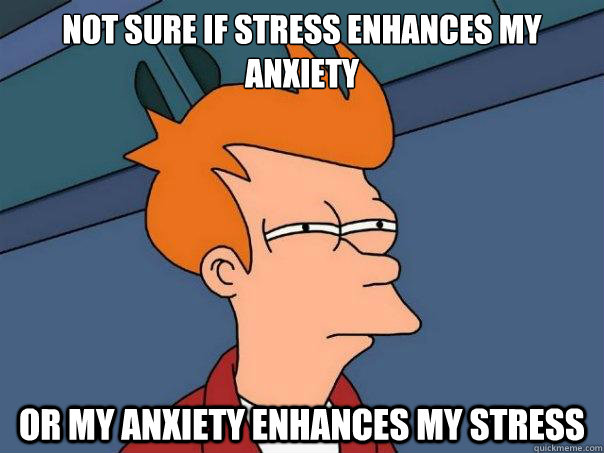 Not sure if stress enhances my anxiety Or my anxiety enhances my stress - Not sure if stress enhances my anxiety Or my anxiety enhances my stress  Futurama Fry