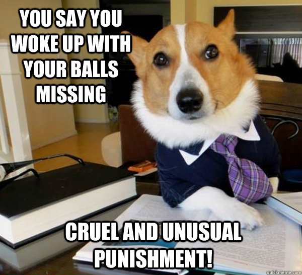 You say you woke up with your balls missing cruel and unusual punishment!   - You say you woke up with your balls missing cruel and unusual punishment!    Lawyer Dog