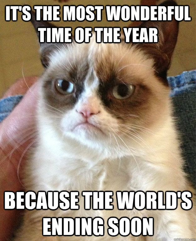 It's the most wonderful time of the year Because the world's ending soon  Grumpy Cat