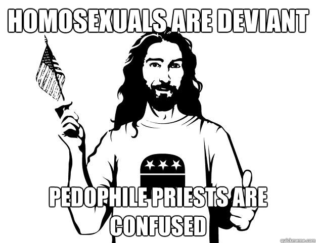 homosexuals are deviant pedophile priests are confused