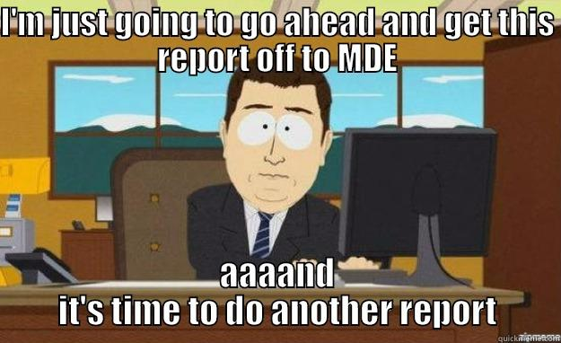 I'M JUST GOING TO GO AHEAD AND GET THIS REPORT OFF TO MDE AAAAND IT'S TIME TO DO ANOTHER REPORT aaaand its gone