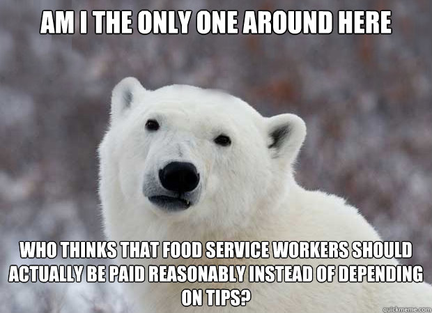 Am I the only one around here who thinks that food service workers should actually be paid reasonably instead of depending on tips? - Am I the only one around here who thinks that food service workers should actually be paid reasonably instead of depending on tips?  Popular Opinion Polar Bear