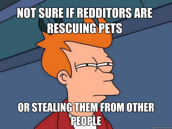 Not sure if redditors are rescuing pets or stealing them from other people  Futurama Fry