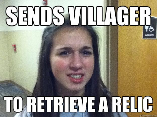 Sends villager to retrieve a relic - Sends villager to retrieve a relic  AOE Noob