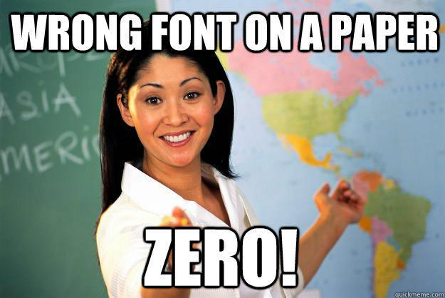 Wrong font on a paper zero! - Wrong font on a paper zero!  Unhelpful High School Teacher