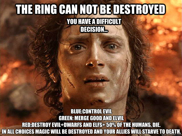 The ring can not be destroyed Blue:Control Evil Green: Merge Good And Elvil Red:Destroy Evil+dwarfs and elfs+ 50% of the humans, die. In all choices magic will be destroyed and your allies will starve to death.  You have a difficult decision...