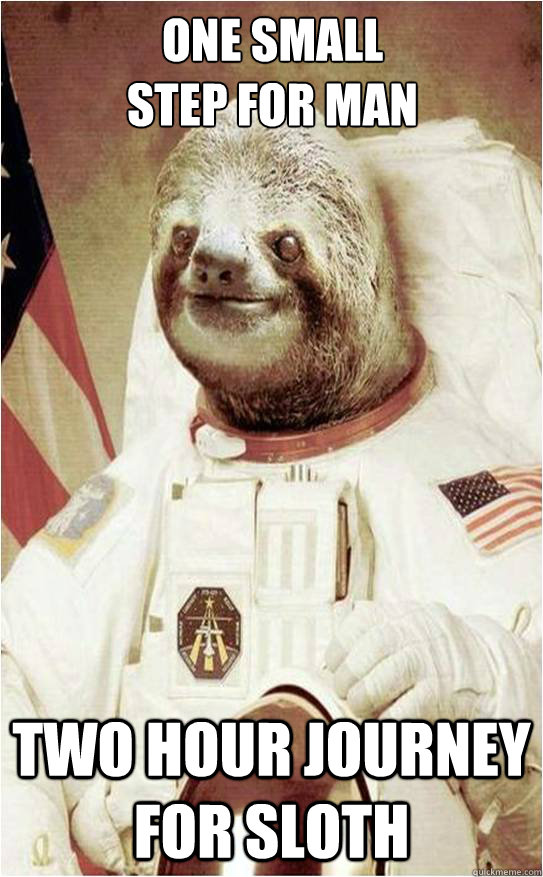 One small  step for man two hour journey for sloth  Astronaut Rape Sloth
