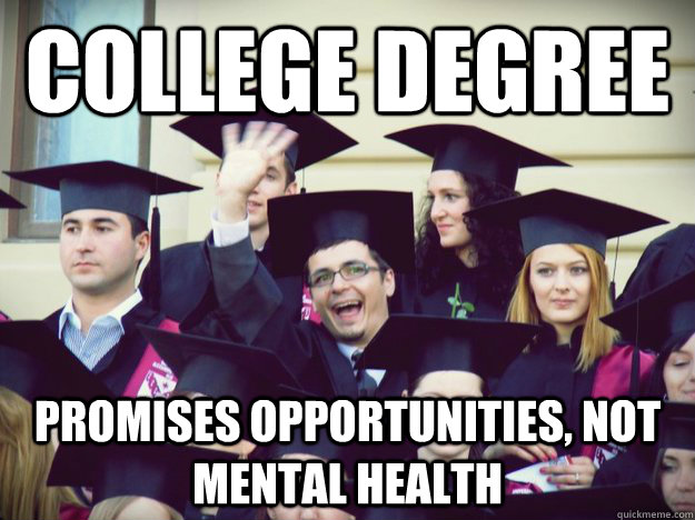 College degree Promises opportunities, not mental health - College degree Promises opportunities, not mental health  Overly optimistic college graduate