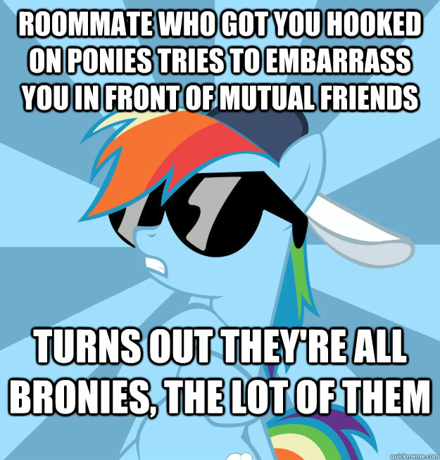 Roommate who got you hooked on ponies tries to embarrass you in front of mutual friends Turns out they're all bronies, the lot of them