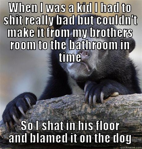Nature calls, the carpet answers - WHEN I WAS A KID I HAD TO SHIT REALLY BAD BUT COULDN'T MAKE IT FROM MY BROTHERS ROOM TO THE BATHROOM IN TIME SO I SHAT IN HIS FLOOR AND BLAMED IT ON THE DOG Confession Bear