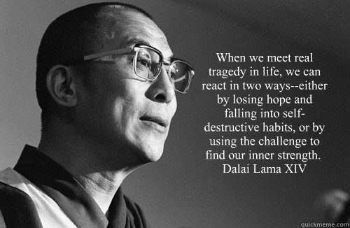 """When we meet real tragedy in life, we can react in two ways--either by losing hope and falling into self-destructive habits, or by using the challenge to find our inner strength."" ― Dalai Lama XIV  Dalai Lama"
