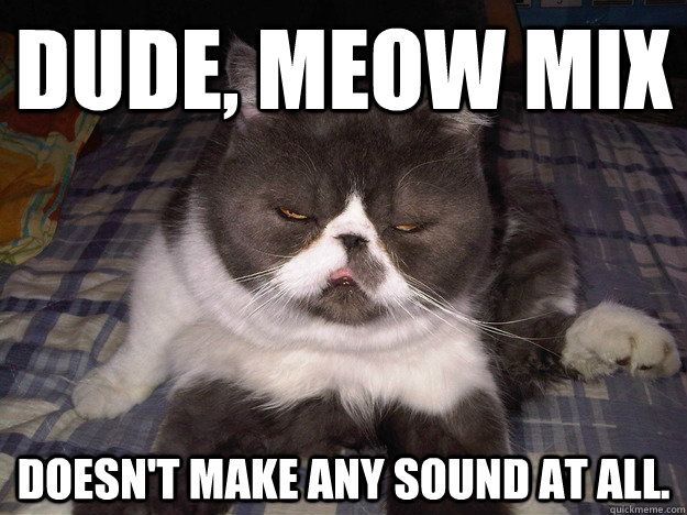 Dude, meow mix doesn't make any sound at all.