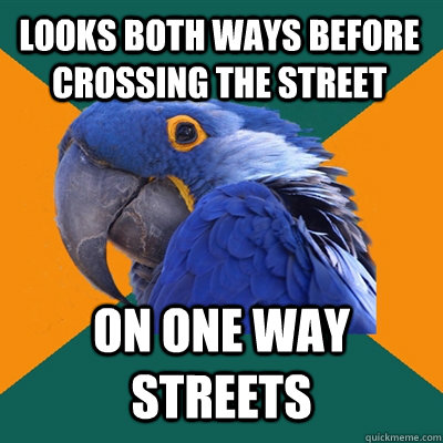 Looks both ways before crossing the street on one way streets - Looks both ways before crossing the street on one way streets  Paranoid Parrot
