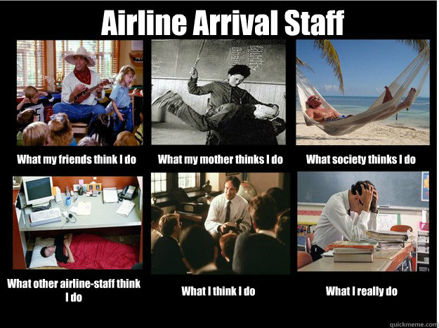 Airline Arrival Staff What my friends think I do What my mother thinks I do What society thinks I do What other airline-staff think I do What I think I do What I really do - Airline Arrival Staff What my friends think I do What my mother thinks I do What society thinks I do What other airline-staff think I do What I think I do What I really do  What People Think I Do